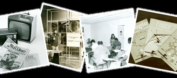Material do Telecurso 1º e 2º graus, nos anos de 1980; O programa ainda apresentado por Antônio Fagundes; Primeiras salas de aula, na década de 1980; Fascículos do antigo Telecurso 2º grau (Foto: Telecurso)