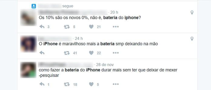 Usuários se queixam da performance da bateria (Foto: Reprodução/Twitter)