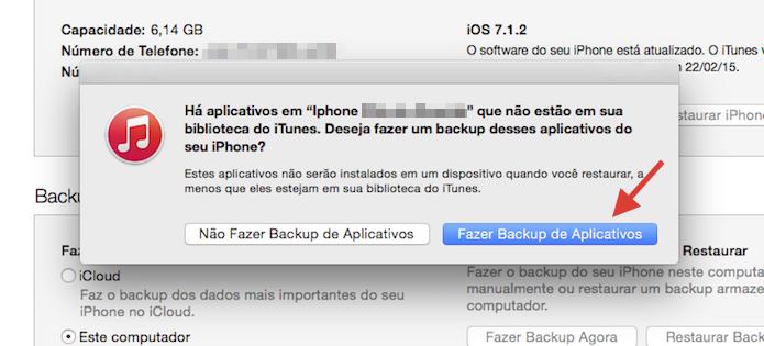Realizando backups de aplicativos do iPhone com o iTunes (Foto: Reprodução/Marvin Costa)