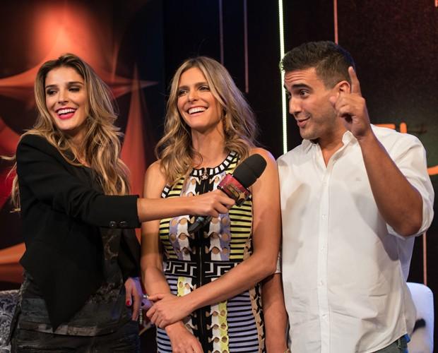 Fernanda Lima, André Marques e Rafa Brites na coletiva do SuperStar 2015 (Foto: Fábio Rocha/Gshow)