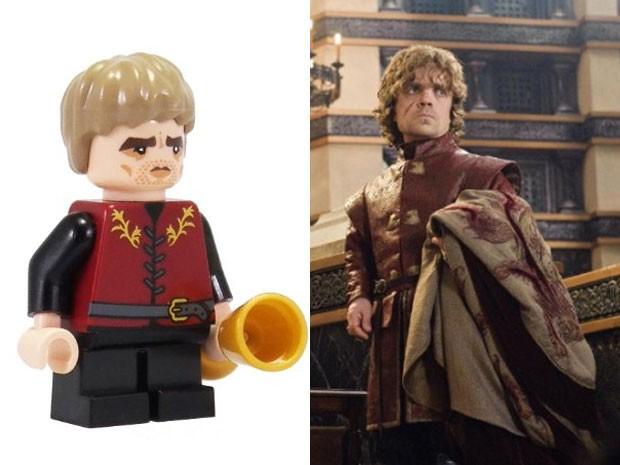 Versão em Lego de Tyrion Lannister e personagem na série 'Game of thrones' (Foto: Divulgação)
