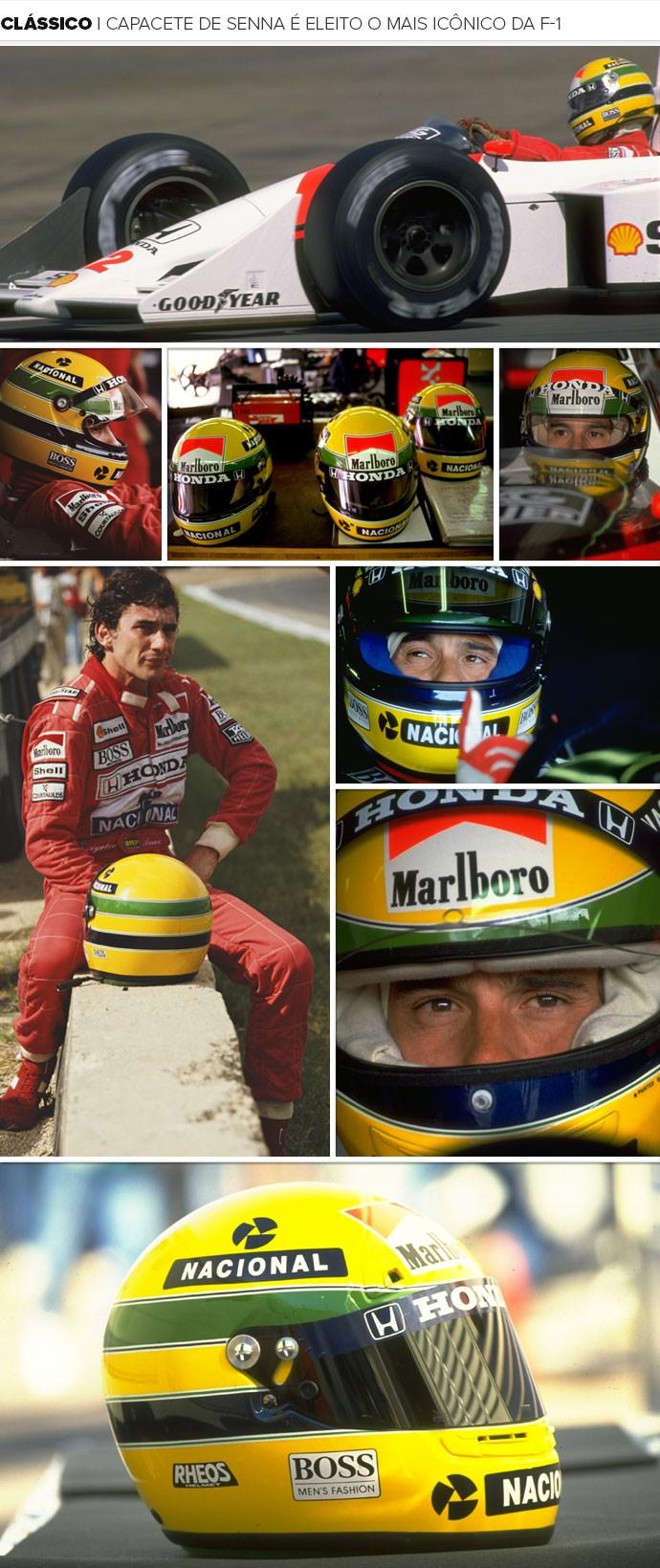 Mosaico Capacete Senna (Foto: Montagem sobre foto da Getty Images)