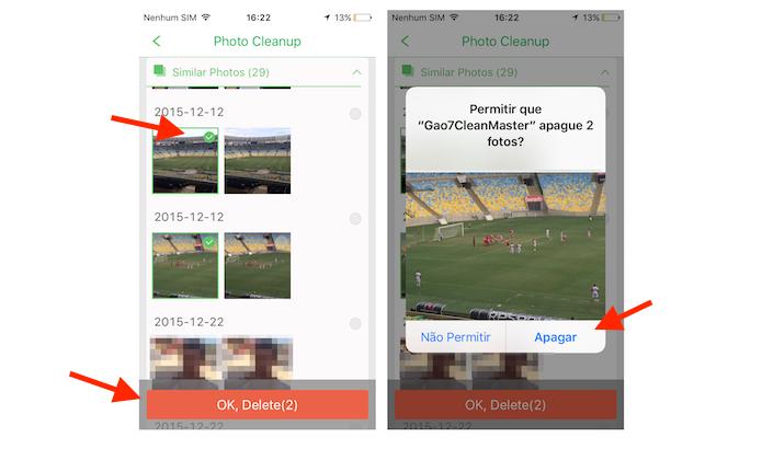 Deletando fotos duplicadas da biblioteca do iPhone com o Clean Master Pro (Foto: Reprodução/Marvin Costa)