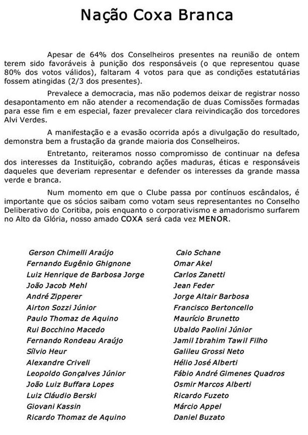 Blog Torcida Coritiba - carta
