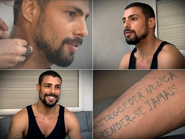 Cauã Reymond bate papo enquanto mostra tatuagens de André (Foto: TV Globo / Divulgação)