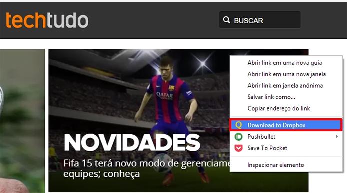 Transfira imagens e arquivos da web direto para o Dropbox (Foto: Reprodução/Paulo Alves)