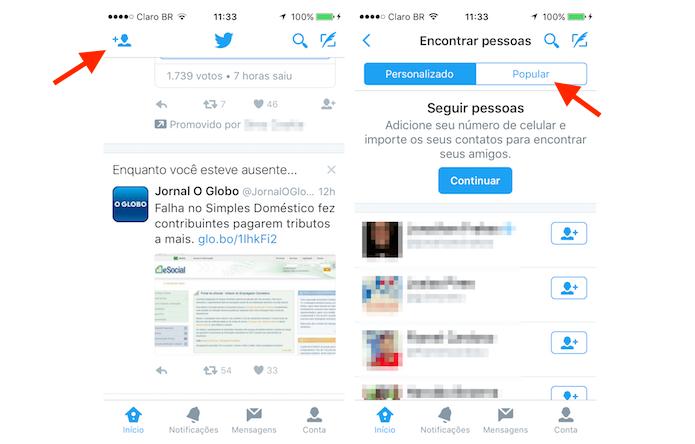 Acessando a página de perfis populares do Twitter através do aplicativo para iPhone (Foto: Reprodução/Marvin Costa)