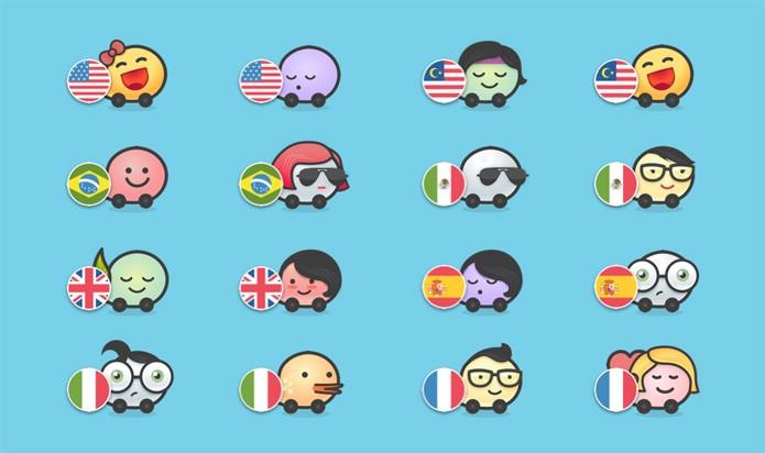 Bandeiras dos países no Waze (Foto: Divulgação/Waze)