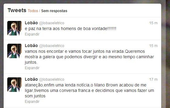 Lobão anuncia as pazes com Mano Brown (Foto: Twitter / Reprodução)