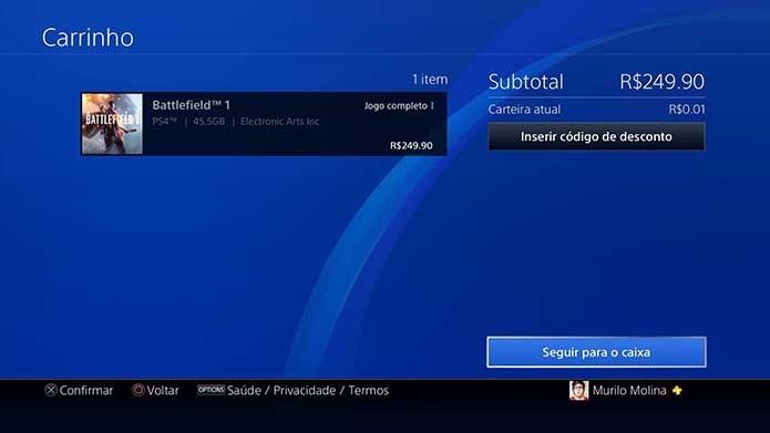 Conclua o pagamento do Battlefield 1 (Foto: Reprodução/Murilo Molina)