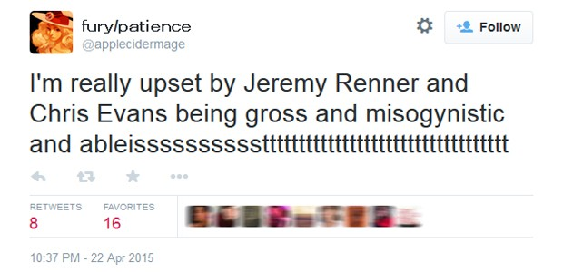 Fã repudia comentários de Jeremy Renner e Chris Evans sobre Viúva Negra (Foto: Reprodução/Twitter)