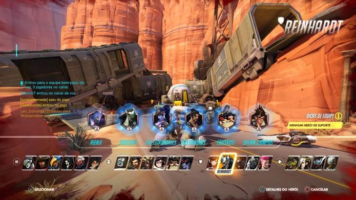 É possível trocar de personagem na partida de Overwatch (Foto: Reprodução/Felipe Vinha)