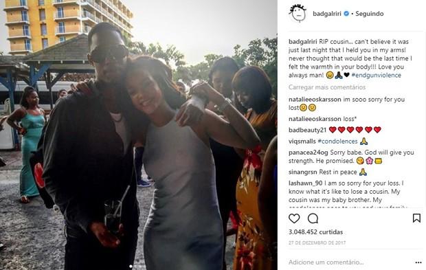 Rihanna e Tavon Alleyne, seu primo que foi assassinado no dia 26 de dezembro (Foto: Reprodução/Instagram)