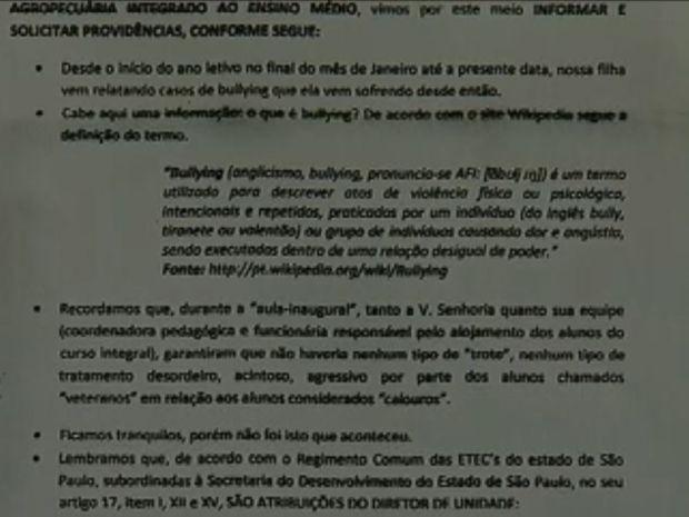 Pai da vítima fez reclamações em ofício (Foto: Reprodução / TV TEM)