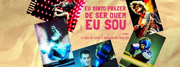 Exemplo de 'cover' para Facebook que pode ser criado por você no aplicativo de Malhação (Foto: Globo)