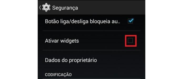 """Destaque para caixa """"ativar widget"""" desmarcada nas configurações do Android (Foto: Reprodução/Raquel Freire) (Foto: Destaque para caixa """"ativar widget"""" desmarcada nas configurações do Android (Foto: Reprodução/Raquel Freire))"""