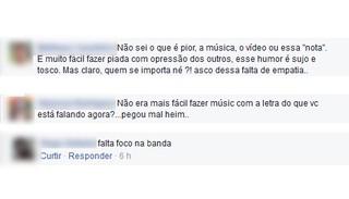 Comentários no post da Banda Renatinho (Foto: Reprodução/Facebook)