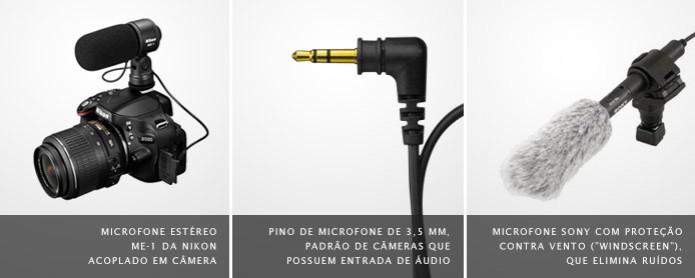 """Imagem de microfone externo em câmera, à esquerda, pino conector, ao meio, e microfone com """"windscreen"""", à direita (Foto: Divulgação) (Foto: Imagem de microfone externo em câmera, à esquerda, pino conector, ao meio, e microfone com """"windscreen"""", à direita (Foto: Divulgação))"""