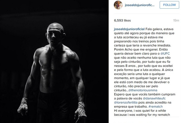 José Aldo desabafa no Instagram (Foto: reprodução/Instagram)
