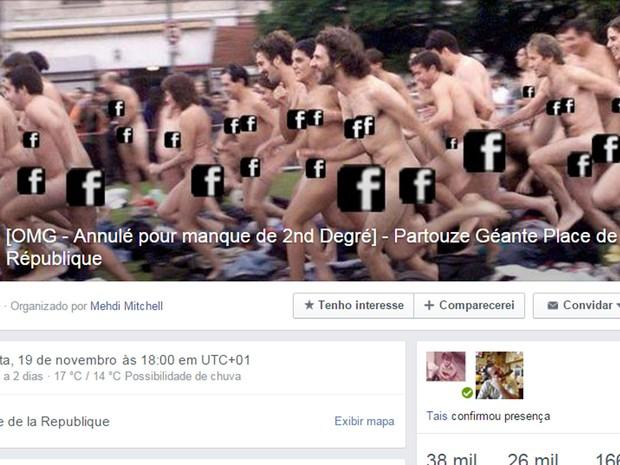 Evento propõe orgia em Paris, mas é só brincadeira (Foto: Reprodução/Facebook)