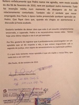 Carta divulgada pela assessoria de imprensa de Pedro Paulo e enviada ao G1 dia 21 de outubro (Foto: Divulgação)