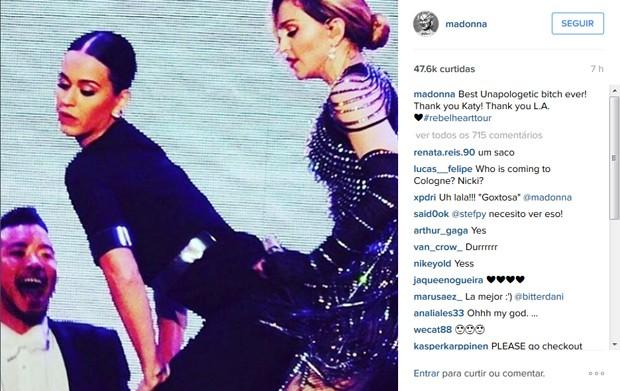 Madonna mostra encontro com Katy Perry que aconteceu na terça-feira (27) (Foto: Reprodução / Instagram)