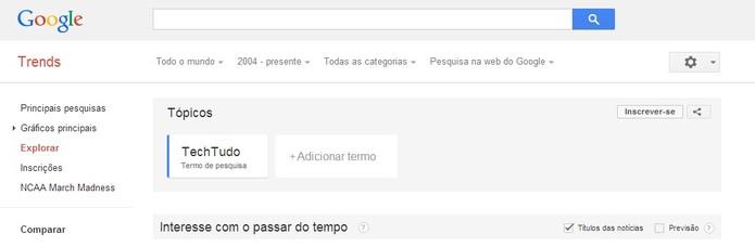 Novo botão Inscrever-se já está disponível no Google Trends. ( Foto:Reprodução/ Milena Pereira)