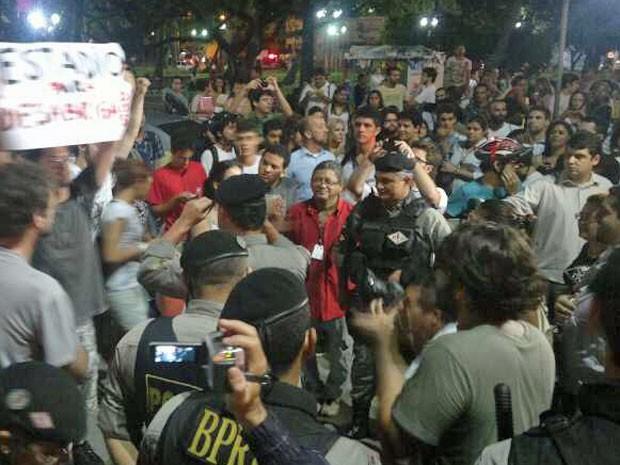 Polícia Militar acompanhou manifestação; não houve registro de tumulto (Foto: Luna Markman/G1)