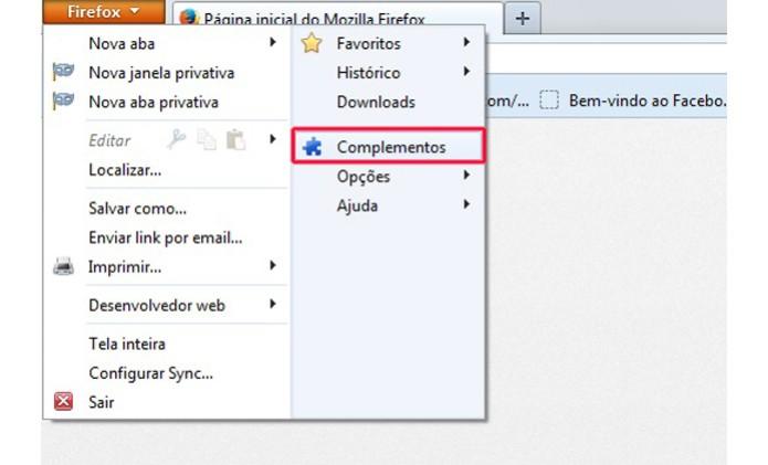 Acessando as opções de complementos do Firefox (Foto: Reprodução/Henrique Duarte)