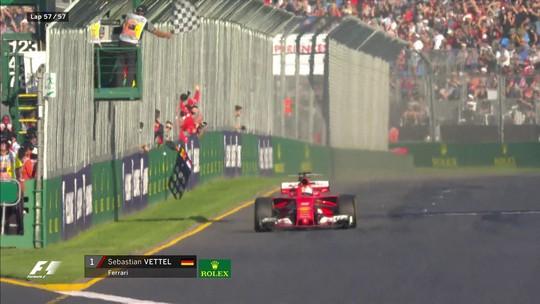 """Vettel comemora vitória sobre Hamilton e bom início da Ferrari: """"Estamos na lua"""""""