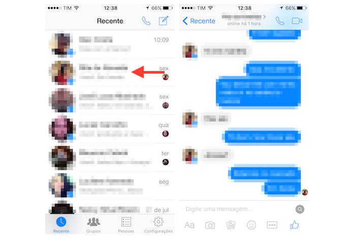 Acessando um chat do Facebook Messenger para iPhone (Foto: Reprodução/Marvin Costa)
