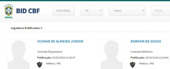 Robinho e Júnior Urso já estão regularizados na CBF (Foto: Reprodução / CBF)