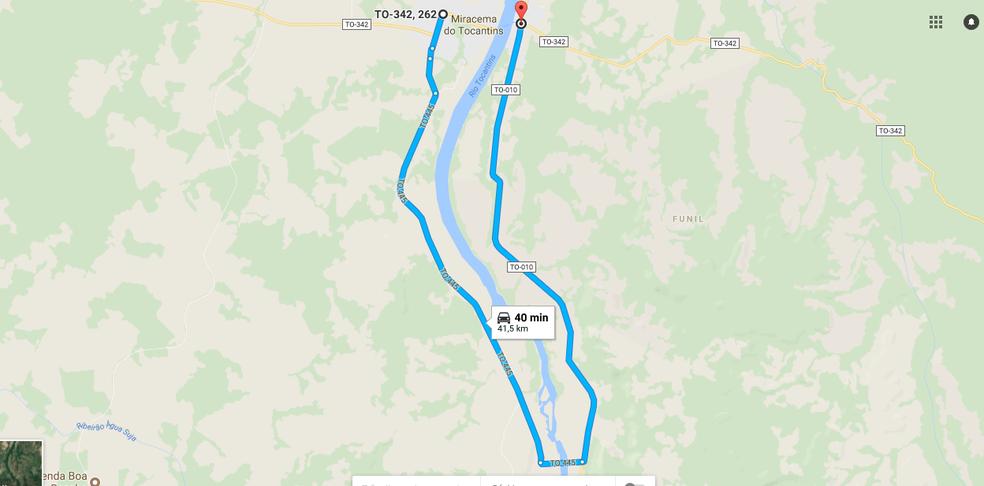 Desvio é percorrido em carca de 40 minutos (Foto: Reprodução/Google Maps)