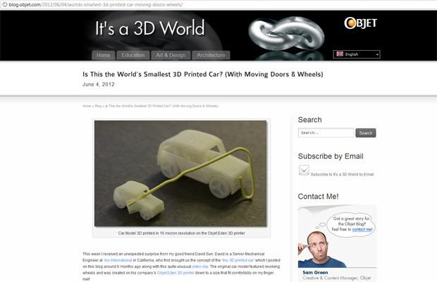 impressão 3d carro (Foto: Reprodução/blog.object.com)
