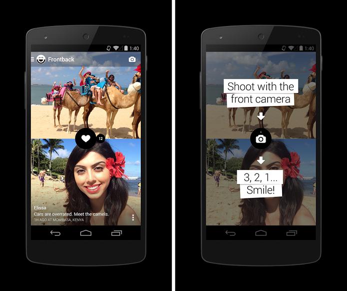 Frontback é um app para fazer fotos com a câmera traseira e a frontal (Foto: Divulgação)