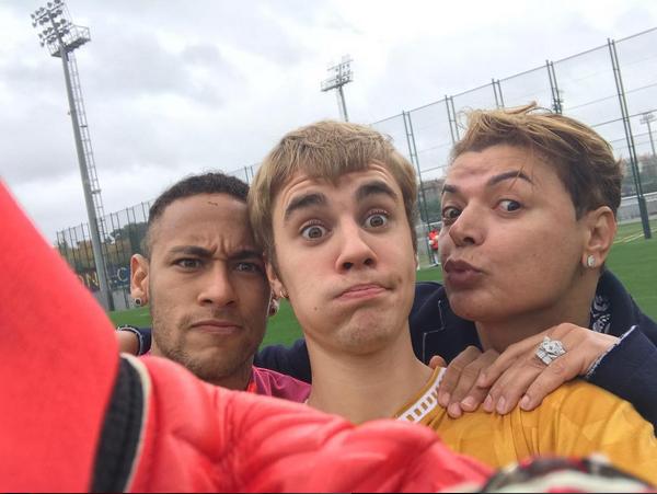 Neymar, Justin Bieber e David Brazil (Foto: Reprodução/Instagram)