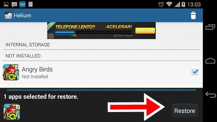 Toque em Restore para restaurar o jogos ou os seus saves no seu smartphone/tablet (Foto: Reprodução / Dario Coutinho)