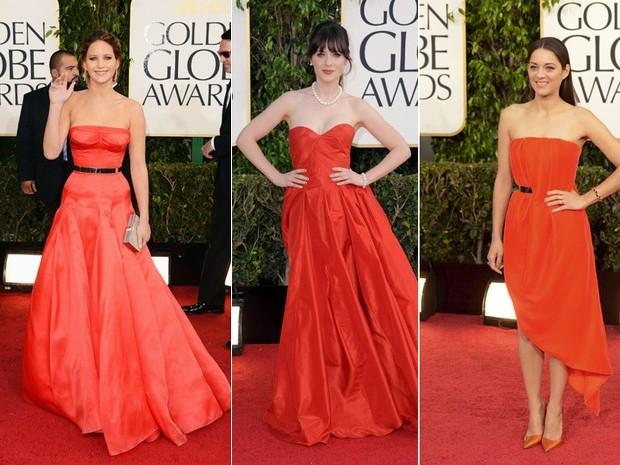 Jennifer Lawrence, Zooey Deschannel e Jessica Alba no Globo de Ouro 2013 (Foto: AP)