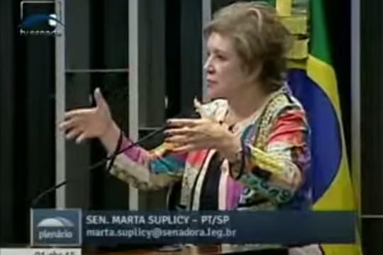 A gesticuladora: Marta Suplicy, senadora (Foto: Reprodução / YouTube)