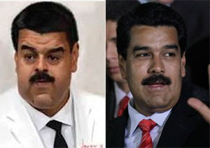 À esquerda, imagem distorcida do rosto de Nicolás Maduro. À direita, foto do presidente venezuelano (Foto: Google e Ariana Cubillos/AP Photo)