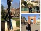 Em Barcelona, ex-BBB Cacau passa a mão em bumbum de estátua