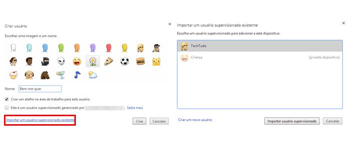 Importe um usuário já criado na sua conta Google (Foto: Reprodução/Paulo Alves)