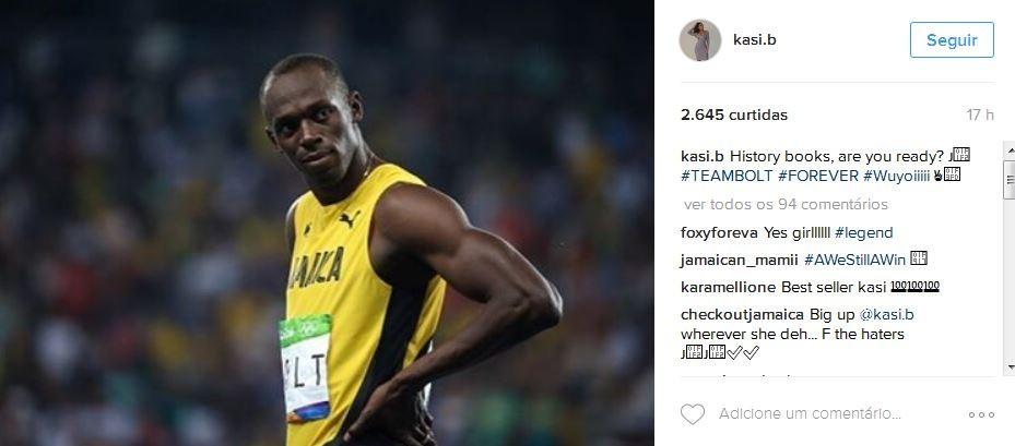 """""""Livros de história, vocês estão prontos?"""", comemorou Kasi após Bolt vencer seu segundo ouro (pelos 200m rasos) na Olimpíada do Rio 2016 (Foto: Instagram/Reprodução)"""