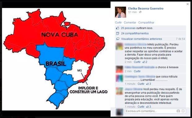 Figura do mapa do Brasil 'subdividido' foi postado pela vereadora de Natal Eleika Bezerra na página que ela mantém no Facebook        (Foto: Reprodução/Facebook de Eleika Bezerra)