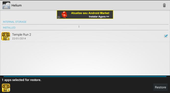 """Em """"Restore and Sync"""", selecione os aplicativos já instalados que devem ter seus arquivos restaurados no Android (Foto: Reprodução/ Lucas Torres)"""