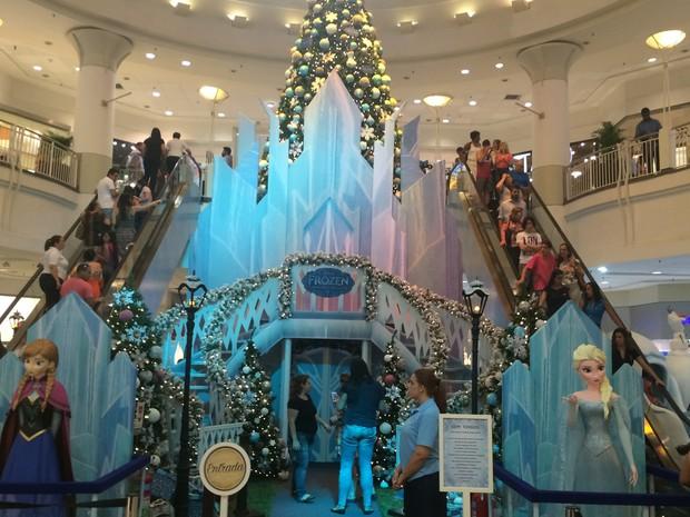 Frozen, o sucesso da Disney, é o tema da decoração de Natal do NorteShopping (Foto: Divulgação/NorteShopping)