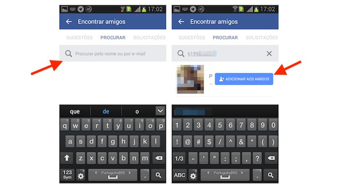 Adicionando um novo contato no Facebook através do número de telefone no Android (Foto: Reprodução/Marvin Costa)