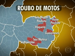 Seis bairros com maior número de roubos de moto (Foto: Reprodução/TV Globo)