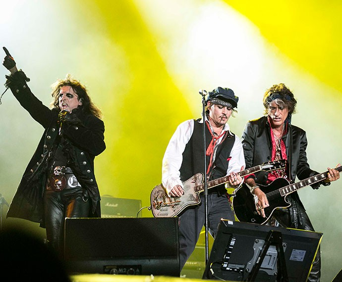 Trio de mitos do Hollywood Vampires no Palco Mundo (Foto: Inácio Moraes/Gshow)