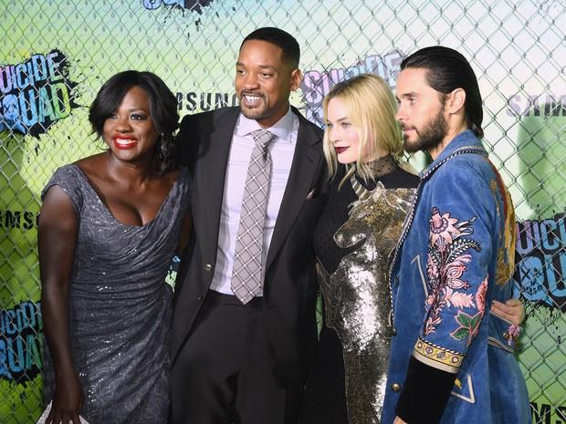 Viola Davis, Will Smith, Margot Robbie e Jared Leto em première de filme em Nova York, nos Estados Unidos (Foto: Jamie McCarthy/ Getty Images/ AFP)